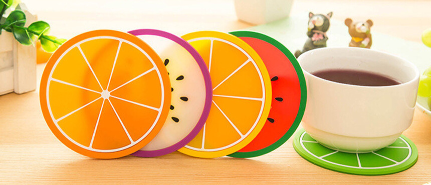 custom fruit design pvc promotiion coaster