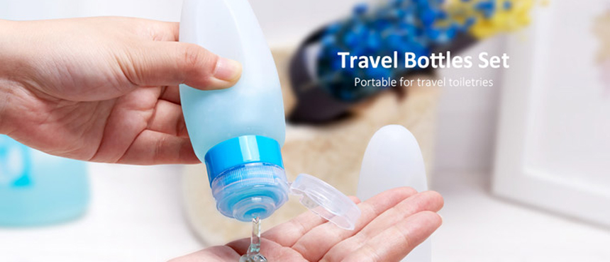 Silicone travel bottles set portable for travel toiletries