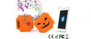 Customized pumpkin design wireless Bluetooth speaker soft PVC skin fun gifts ideas