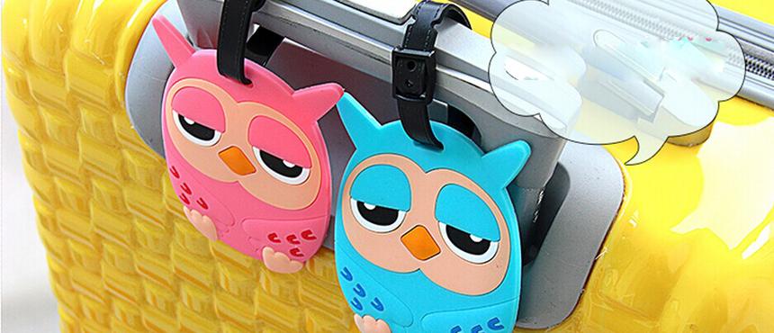 custom Owl design PVC luggage tag