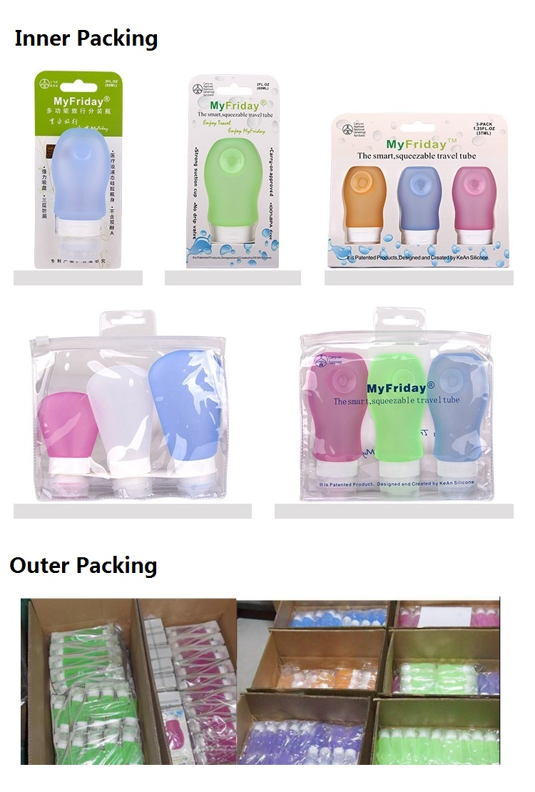 Silicone travel bottles package