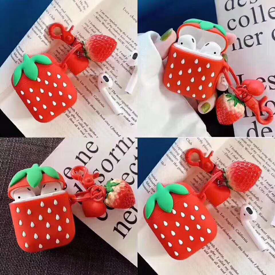 Strawberry design Airpods silicone case