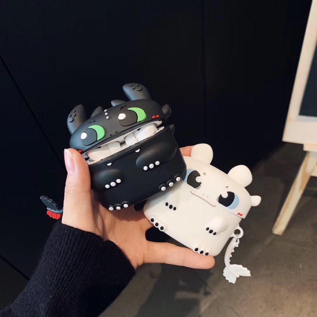 couple dragon silicone airpods case cover cute
