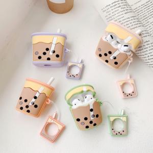 pear milk tea design silicone airpods case cover